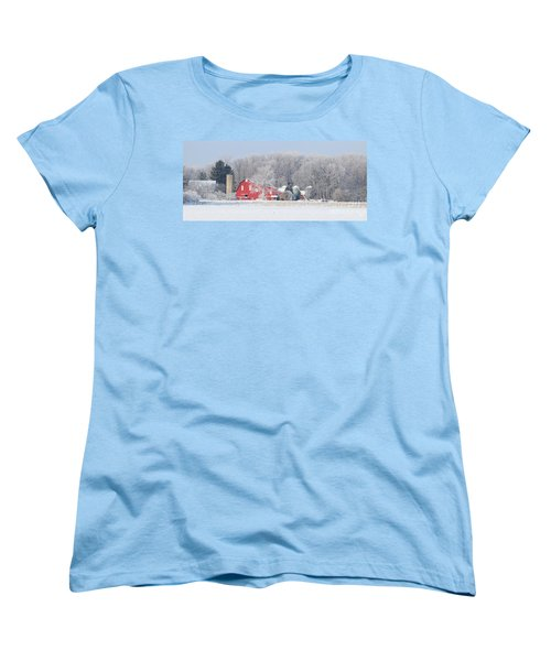 Red Barn Frosty Morning Panorama1 Women's T-Shirt (Standard Cut) by Jack Schultz