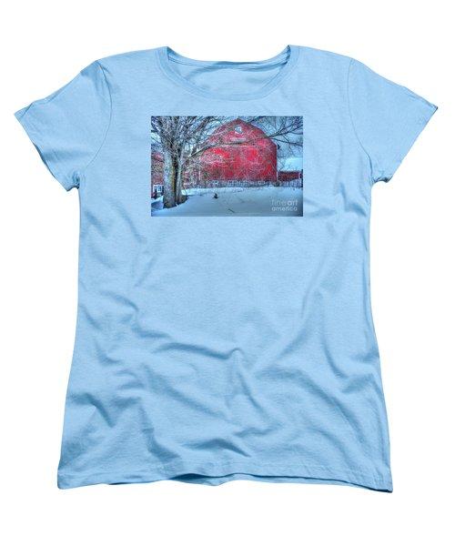 Red Barn In Winter Women's T-Shirt (Standard Cut) by Terri Gostola