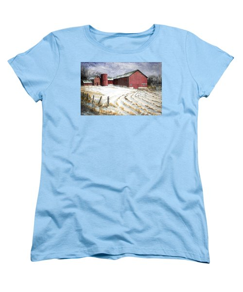 Women's T-Shirt (Standard Cut) featuring the painting Red Barn On Rt. 49 by Roger Rockefeller