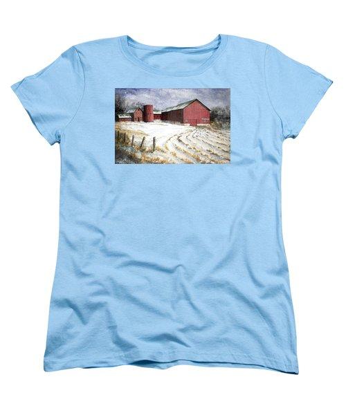 Red Barn On Rt. 49 Women's T-Shirt (Standard Cut) by Roger Rockefeller