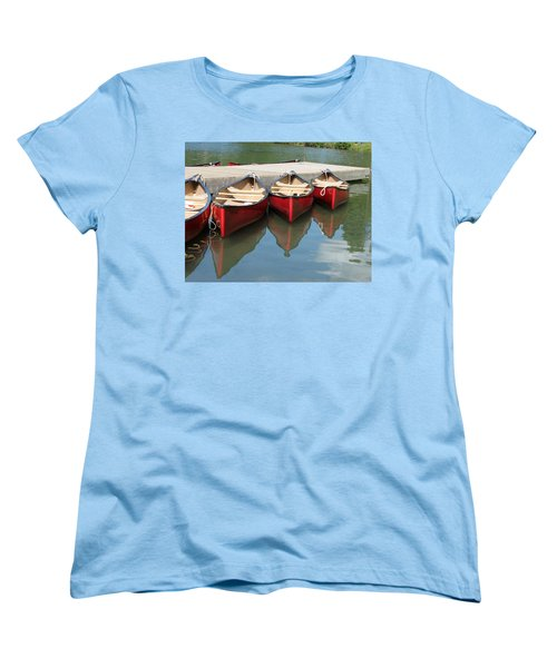 Women's T-Shirt (Standard Cut) featuring the photograph Red Canoes by Marcia Socolik