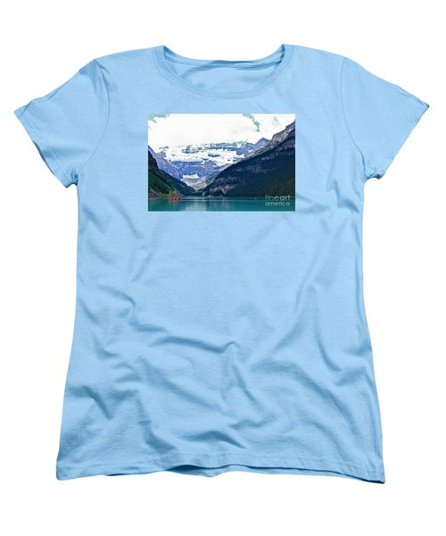 Women's T-Shirt (Standard Cut) featuring the photograph Red Canoes Turquoise Water by Linda Bianic