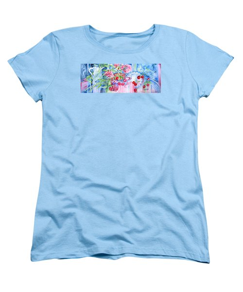 Red Cherries And Sweet William Women's T-Shirt (Standard Cut) by Trudi Doyle