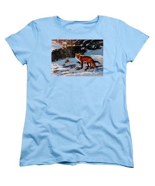 Women's T-Shirt (Standard Cut) featuring the photograph Red Fox In Winter by Diane Alexander