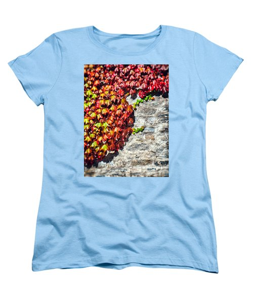 Women's T-Shirt (Standard Cut) featuring the photograph Red Ivy On Wall by Silvia Ganora