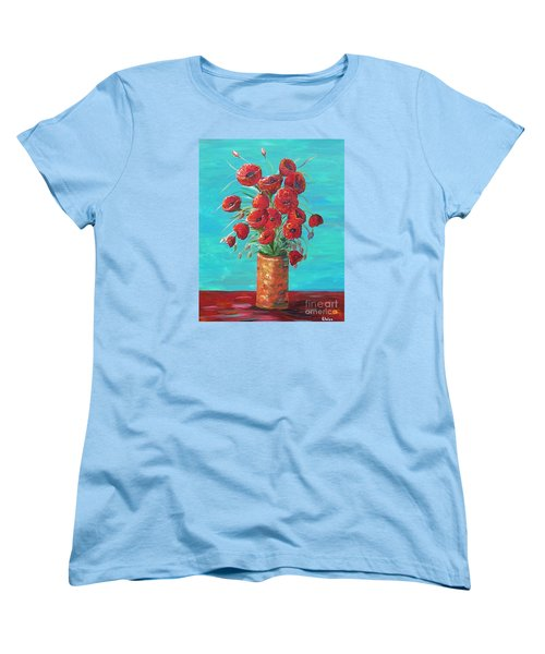 Women's T-Shirt (Standard Cut) featuring the painting Red On My Table  by Eloise Schneider