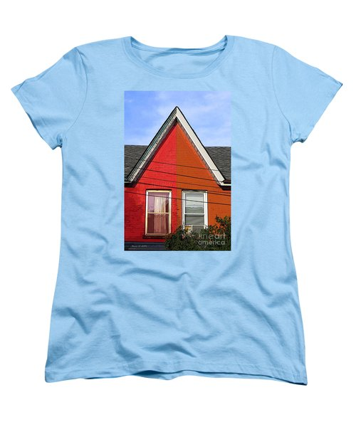 Women's T-Shirt (Standard Cut) featuring the photograph Red-orange House by Nina Silver
