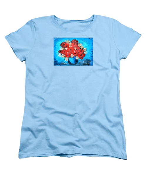Red Poppies And White Daisies Women's T-Shirt (Standard Cut) by Ramona Matei