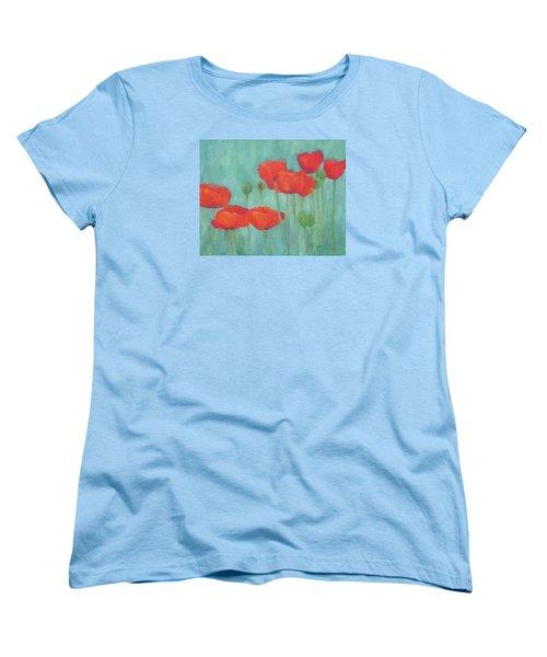 Red Poppies Colorful Poppy Flowers Original Art Floral Garden  Women's T-Shirt (Standard Cut) by Elizabeth Sawyer