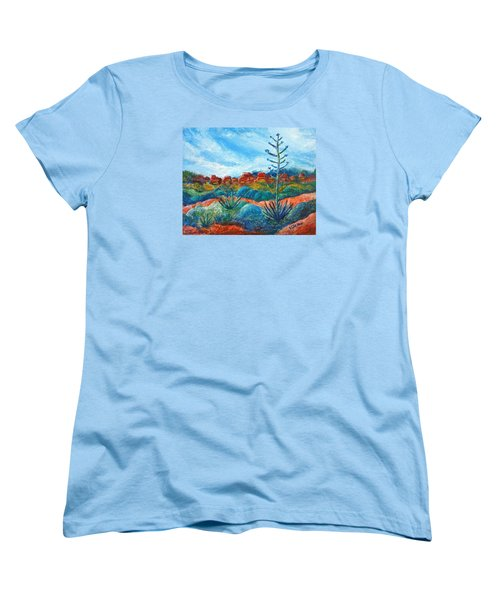 Red Rocks Women's T-Shirt (Standard Cut) by Victoria Lakes