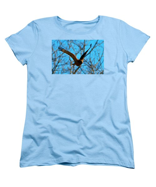 Women's T-Shirt (Standard Cut) featuring the photograph Red Tail Hawk In Flight by Peggy Franz