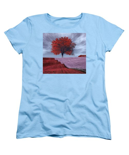 Women's T-Shirt (Standard Cut) featuring the painting Red Tree In A Field by Bruce Nutting