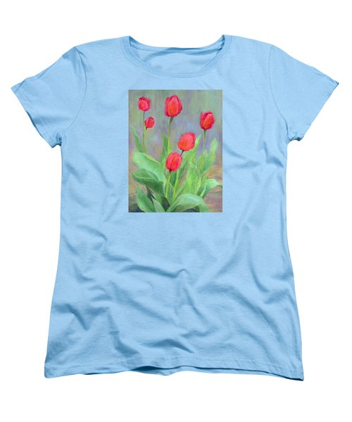 Red Tulips Colorful Painting Of Flowers By K. Joann Russell Women's T-Shirt (Standard Cut) by Elizabeth Sawyer