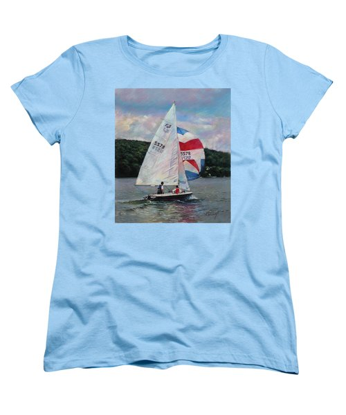 Women's T-Shirt (Standard Cut) featuring the drawing Red White And Blue Sailboat by Viola El