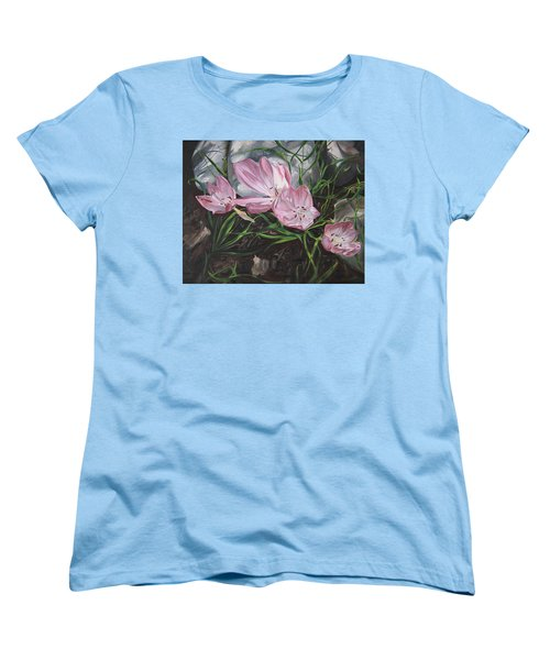 Women's T-Shirt (Standard Cut) featuring the painting Resurrection Lilies by Jane Autry