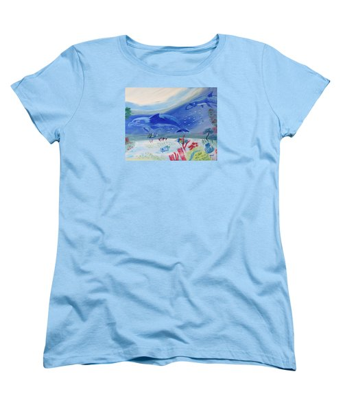 Women's T-Shirt (Standard Cut) featuring the painting Rhythm Of The Sea by Meryl Goudey