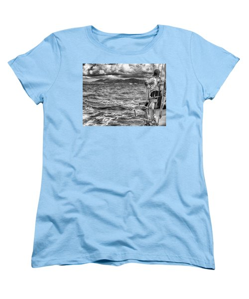 Women's T-Shirt (Standard Cut) featuring the photograph Riding The Crest Of The Wave by Howard Salmon