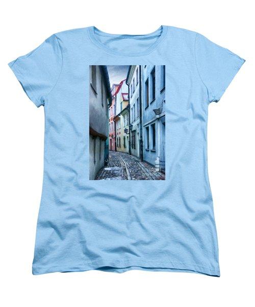 Riga Narrow Street Painting Women's T-Shirt (Standard Cut) by Antony McAulay
