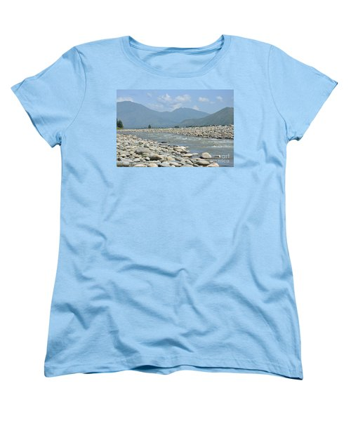 Women's T-Shirt (Standard Cut) featuring the photograph Riverbank Water Rocks Mountains And A Horseman Swat Valley Pakistan by Imran Ahmed
