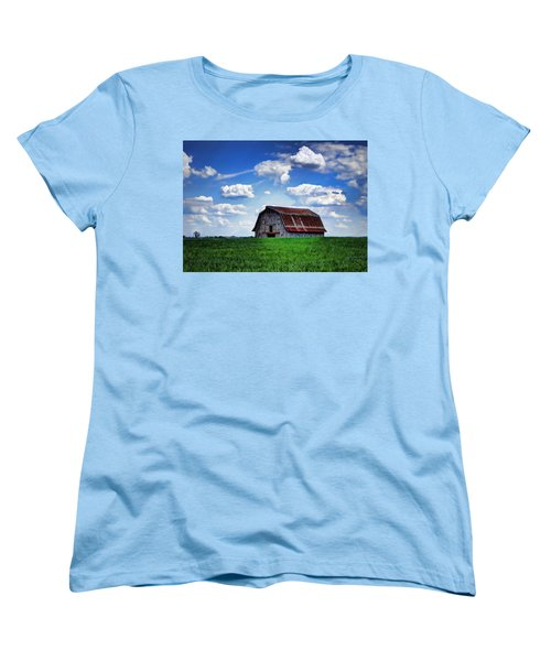Riverbottom Barn Against The Sky Women's T-Shirt (Standard Cut) by Cricket Hackmann