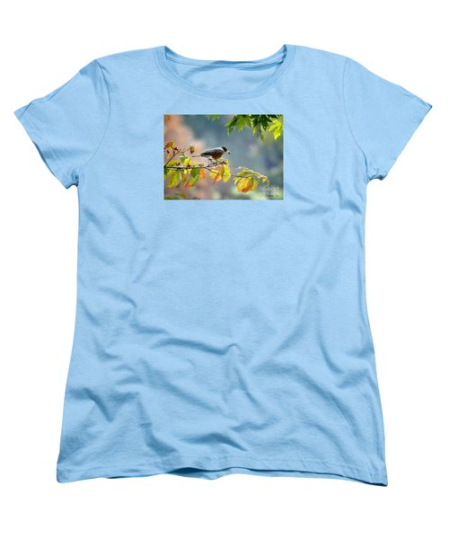 Women's T-Shirt (Standard Cut) featuring the photograph Robin With Red Berry by Nava Thompson