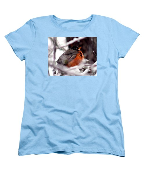 Women's T-Shirt (Standard Cut) featuring the photograph Robins' Patience by Lesa Fine