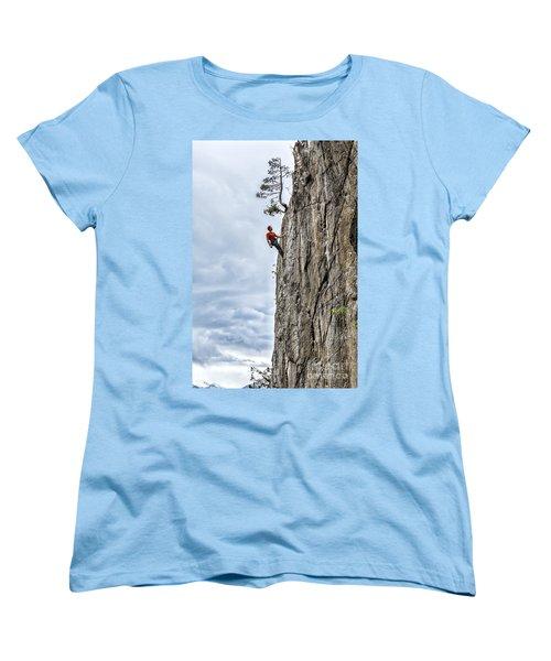 Women's T-Shirt (Standard Cut) featuring the photograph Rock Climber by Carsten Reisinger