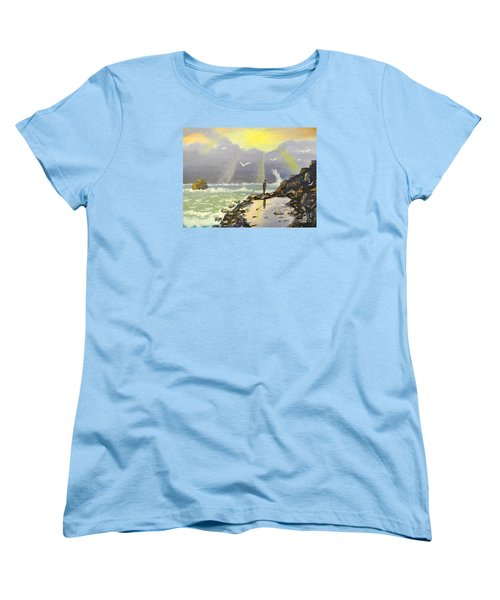 Women's T-Shirt (Standard Cut) featuring the painting Rock Fishing At Wombarra  by Pamela  Meredith