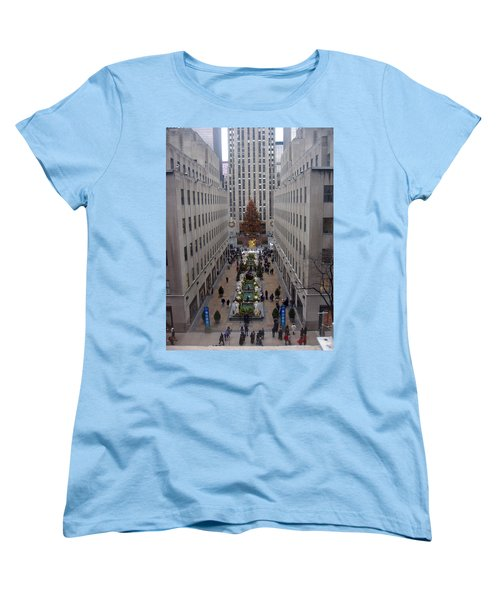 Rockefeller Plaza At Christmas Women's T-Shirt (Standard Cut) by Judith Morris