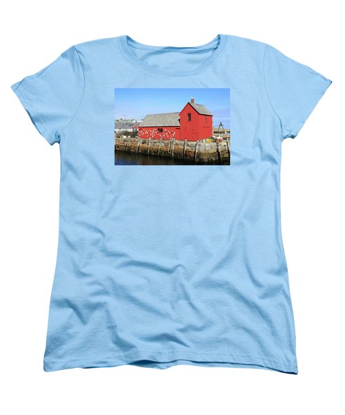 Rockport Motif Number 1 Women's T-Shirt (Standard Cut) by Lou Ford