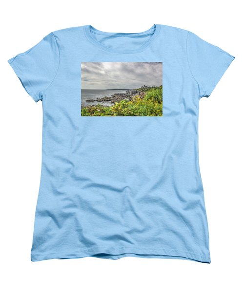 Women's T-Shirt (Standard Cut) featuring the photograph Rocky Maine Shoreline by Jane Luxton