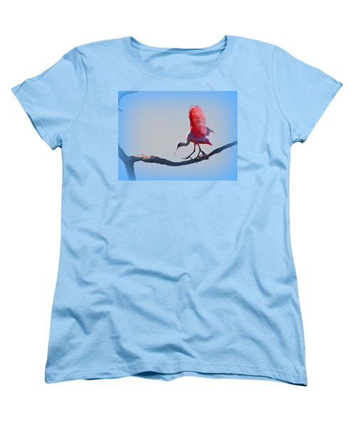 Women's T-Shirt (Standard Cut) featuring the photograph Roseate Spoonbill by David Mckinney