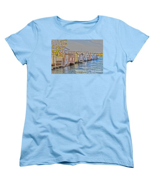 Row Of Boathouses Women's T-Shirt (Standard Cut) by William Norton