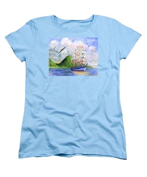 Royal Clipper Leaving St. Lucia Women's T-Shirt (Standard Cut) by John D Benson