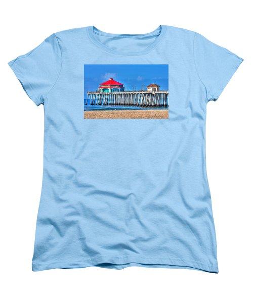 Ruby's Surf City Diner - Huntington Beach Pier Women's T-Shirt (Standard Cut) by Jim Carrell
