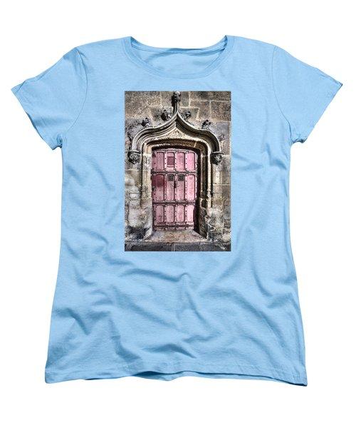 Ruins With Red Door Women's T-Shirt (Standard Cut) by Evie Carrier