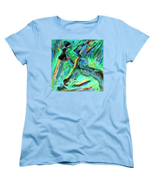 Women's T-Shirt (Standard Cut) featuring the painting Runners by Dominic Piperata