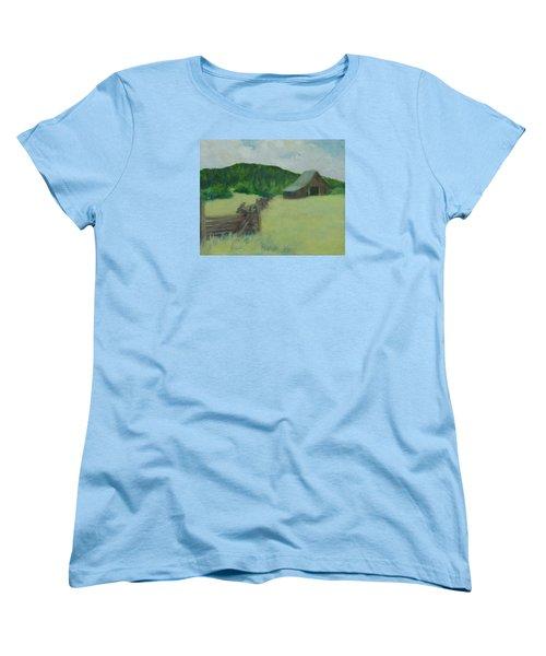 Rural Landscape Colorful Oil Painting Barn Fence Women's T-Shirt (Standard Cut) by Elizabeth Sawyer