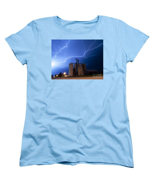Women's T-Shirt (Standard Cut) featuring the photograph Rural Lightning Storm by Art Whitton