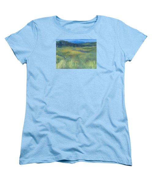 Rural Valley Landscape Colorful Original Painting Washington State Water Mountains K. Joann Russell Women's T-Shirt (Standard Cut) by Elizabeth Sawyer