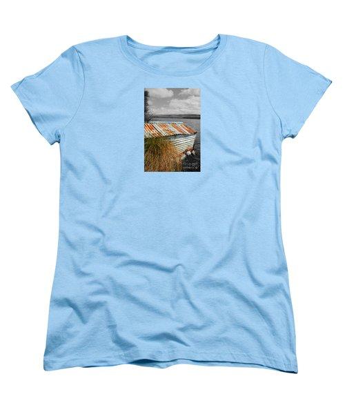 Women's T-Shirt (Standard Cut) featuring the photograph Rusty Boatshed On Lake. by Nareeta Martin
