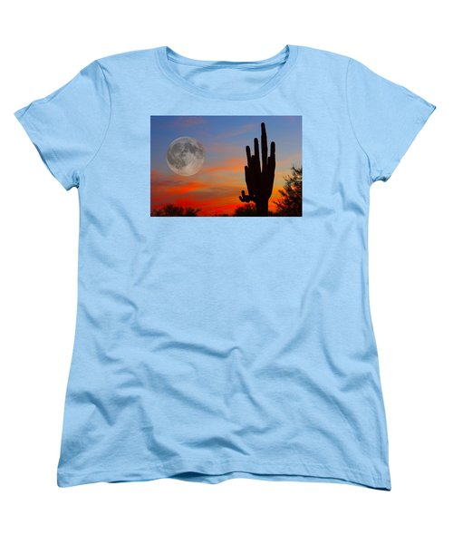 Saguaro Full Moon Sunset Women's T-Shirt (Standard Cut) by James BO  Insogna