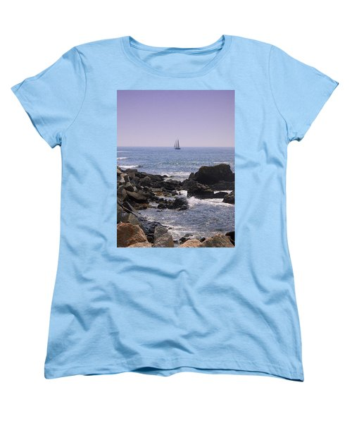 Sailboat - Maine Women's T-Shirt (Standard Cut) by Photographic Arts And Design Studio