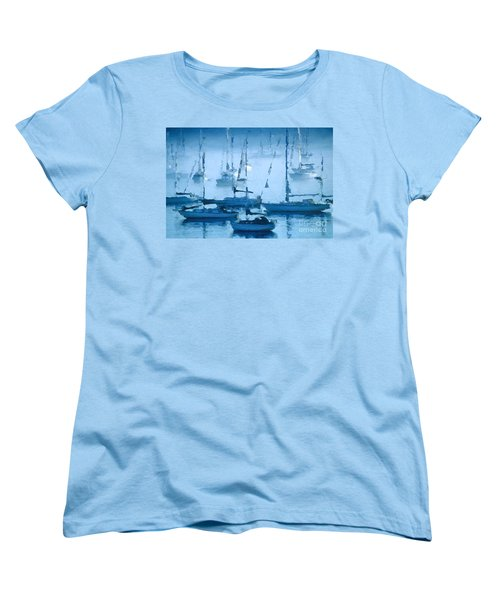Sailboats In The Fog II Women's T-Shirt (Standard Cut) by David Perry Lawrence