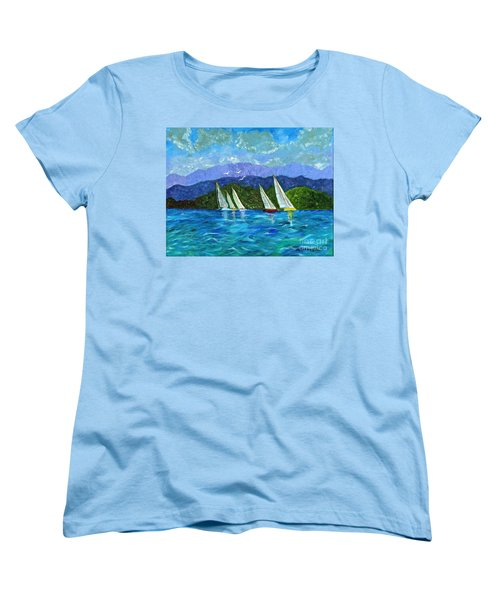 Women's T-Shirt (Standard Cut) featuring the painting Sailing by Laura Forde