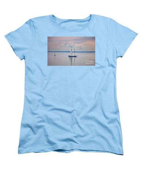 Women's T-Shirt (Standard Cut) featuring the photograph Sailing On A Misty Morning Art Prints by Valerie Garner