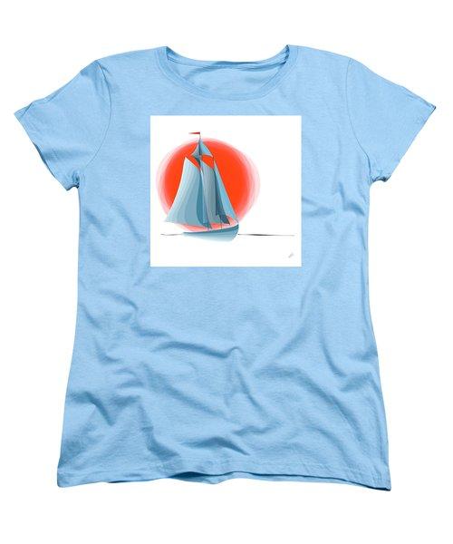 Sailing Red Sun Women's T-Shirt (Standard Cut) by Ben and Raisa Gertsberg