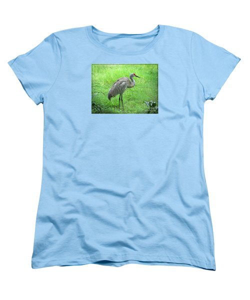 Women's T-Shirt (Standard Cut) featuring the photograph Sandhill Crane - Bird Photography by Ella Kaye Dickey