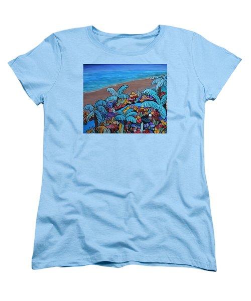 Women's T-Shirt (Standard Cut) featuring the painting Santa Barbara Beach by Barbara St Jean