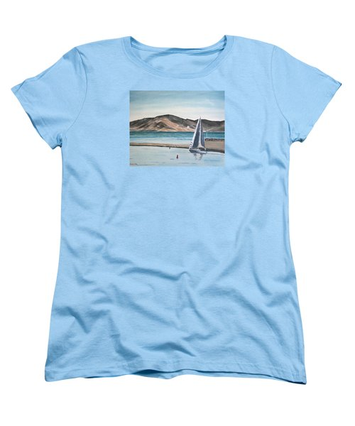 Women's T-Shirt (Standard Cut) featuring the painting Santa Barbara Sailing by Ian Donley